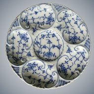 Antique Blue Onion Oyster Plate
