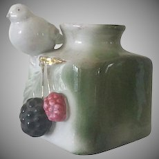 Vintage Porcelain Inkwell,  Bird, Dove & Raspberries