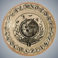 Antique ABC Plate Featuring a Scholarly Dog