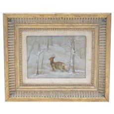 Original Oil Painting, Snow Scene featuring a Beautiful Deer, Oil on Board