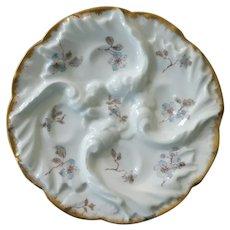 Haviland Blue Floral Oyster Plate