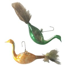 Vintage Mercury Glass Bird Ornaments
