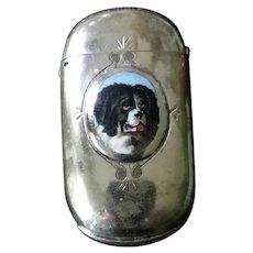 Victorian Silver Vesta Case / Match Striker with Enamel Dog Portrait