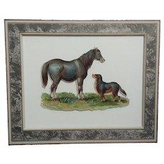 Victorian, Horse & Dog, Framed,  Die-Cut