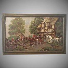 Vintage Box,  English Horse, FOX HUNT Scene, Wood & Brass,  Box