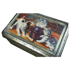 Dog & Cat,  Biscuit ~ Confectionery Tin ~ France