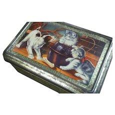 Vintage Dog & Cat Biscuit Tin ~ France