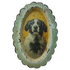 Antique, Dog Lithograph, Miniature Tip Tray