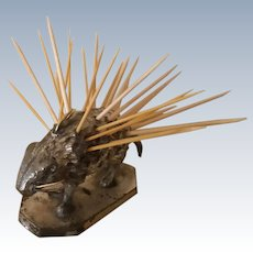 ANTIQUE, PORCUPINE  Toothpick Holder, Rogers Smith & Co