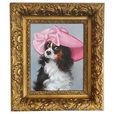 Victorian Frame Showcasing A Cavalier King Charles Spaniel
