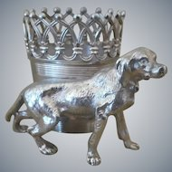 Antique,  James W Tufts,  Figural Dog Toothpick Holder
