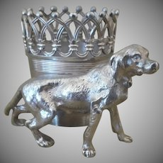 Antique, DOG, JAMES W TUFTS, Silver Plate, Figural, Sporting Dog, Toothpick Holder