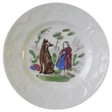 Antique Childs Plate ~ Little Red Riding Hood & The Wolf