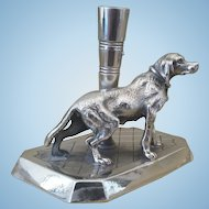 Antique, Dog, James W. Tufts, Silver Plate, Pen / Flute,  Holder, Great Fathers Day Gift