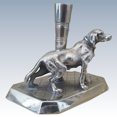 Antique, Dog, James W. Tufts, Silver Plate, Pen Holder, Great Desk Accessory