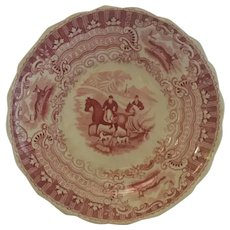 Antique Equestrian English Transferware Saucer / Dish