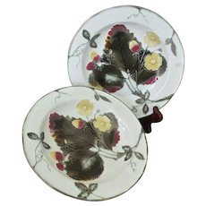 Antique Wedgwood Majolica  Strawberry Dishes ~ Pair