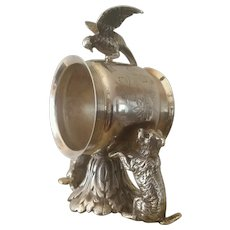 Vintage, Dog & Bird, Figural, Meriden, Napkin Ring