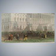 19th Century, Washington Capitol, Hand Tinted Print,  William Henry Bartlett
