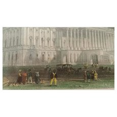 19th Century, Hand Tinted, Antique,  Print, Capitol, Washington, by William Henry Bartlett