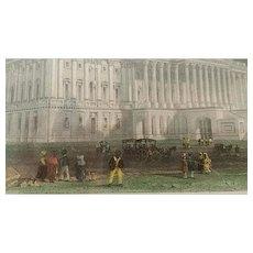 Antique, Print, Capitol, Washington, Hand Tinted,  William Henry Bartlett
