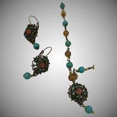 Vintage Turquoise & Jade Beaded Necklace with Matching Earrings