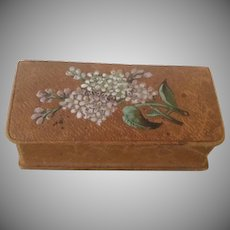 Vintage Trinket Box,  Brown Leather with Colorful Lilac's.