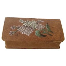 Vintage Trinket Box,  Brown Leather with Colorful Lilac's.  Free Shipping