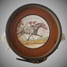 Vintage, Horse Racing, Leather, Coaster, Tray / Ashtray / Trinket Tray / wine caddy/coaster