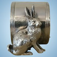 Vintage Rabbit Silver Plate Napkin Ring.