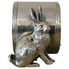 Vintage Rabbit Silver Plate Napkin Ring.
