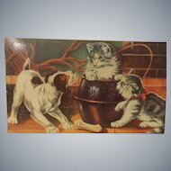 Vintage French Biscuit Tin with Dog and Cat Theme