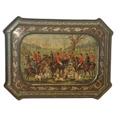 Antique,  Huntley & Palmer Biscuit Tin,  Horse Fox Hunt Scene