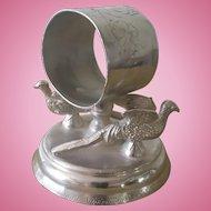Vintage Pheasant Figural Napkin Ring, Knickerbocker, # 178,  Silverplate