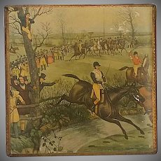 """Vintage, Box, with Horse Steeplechase Scene, """" Brook"""", by, Charles Hunt"""