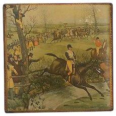 "Vintage Florentine Box ~ Horse Steeplechase Scene, "" Brook"", by, Charles Hunt"