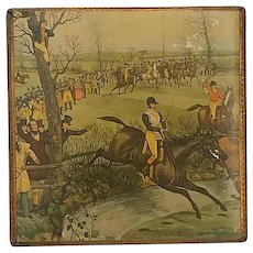 """Vintage,  Gabbanini, Gold Wood Box with Steeplechase, """" Brook"""", by, Charles Hunt"""