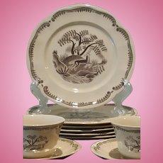Vintage, Tea / Coffee Set.  Designed by Arthur Percy, Gefle, Tibet Pattern, Deer, Sweden
