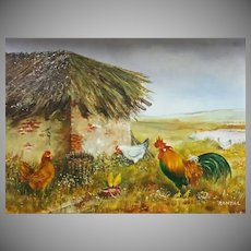Vintage Rooster & Chickens, Oil Painting On Board