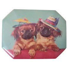 VINTAGE, TOY SPANIEL, Blue Bird Toffee Tin, Harry Vincent LTD, England,  1950's