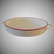 Vintage Red and White Enamel French Pan