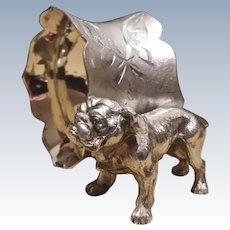 Vintage, Bull Dog, Figural Napkin Ring,  Quadruple Silverplate