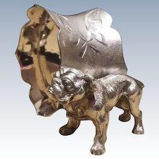Vintage, Bull Dog, Figural Napkin Ring,  Quadruple Silverplate