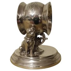 19th Century, Figural Dog, Napkin Ring.  Quadruple Silverplate