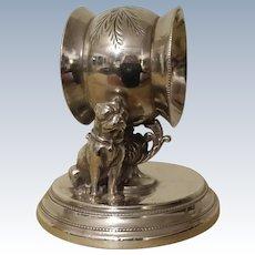 19th Century, Figural Dog, Napkin Ring.  Quadruple Silverplate