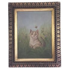 Beautiful, Folk Art, Cat, Original Oil Painting