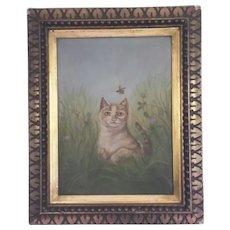 Beautiful,  Portrait of a Cat, Folk Art, Oil Painting