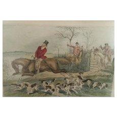 Pair of, Illustrations by John Leech, 1800's, Fox Hunt Horse Prints, Mr. Sponges Sporting Tour, English Satire