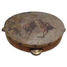 Folk Art, Tambourine, Handpainted, Shore Birds,  Rare