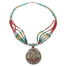 20th Century Tibetan Sterling Turquoise & Coral Necklace